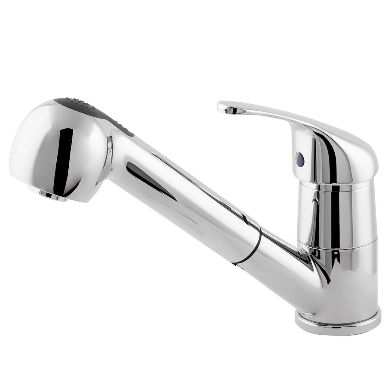 Single level kitchen mixer with a extractable-spout